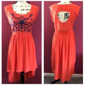 Xhilaration Coral Embroidered High Low Dress
